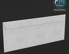 White envelope 3D asset low-poly