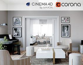 Corona - C4D Scene files - Living Room 3 3D