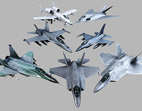 3D asset Aircrafts military 7 in 1