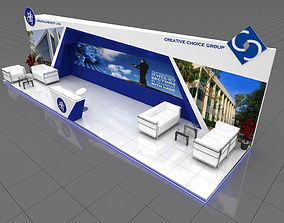 Exhibition stall 3d model 9x3 mtr 3 sides open