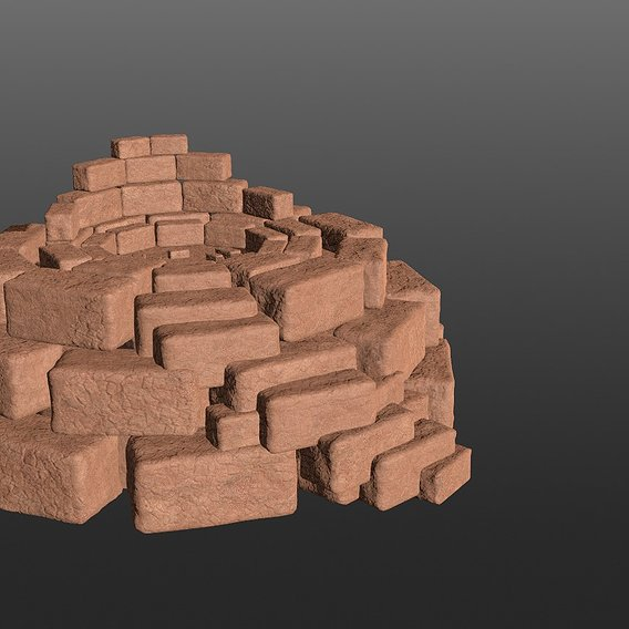 8K Ancient Sanctuary Tomb with red bricks 3D model