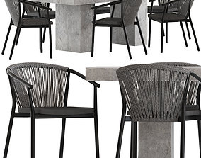 3D Coco Republic Marco Stackable Chair and Abbot Table
