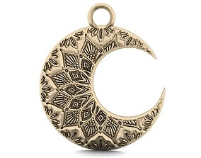 3D print model Moon mandala zentangle pendant