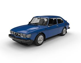 Saab 99 Turbo C4D Vray Low poly 3D model game-ready