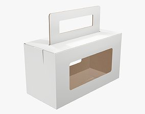 3D Empty carrying corrugated cardboard box with handle 01
