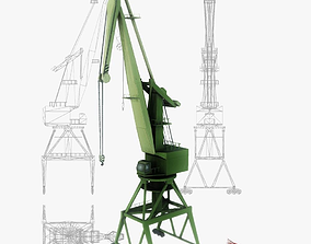 Port gantry crane 4 low poly 3D asset