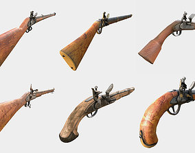 Collection of Low Poly PBR Ready Muskets and 3D asset