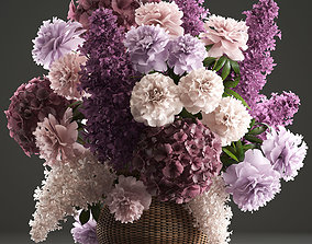 Bouquet of flowers in a basket 3 3D