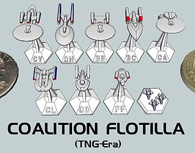 3D printable model MicroFleet TNG-Era Coalition Flotilla 1
