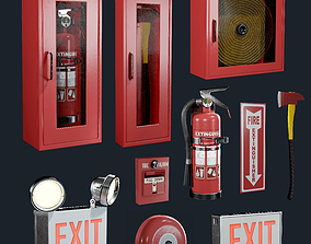 Fire Equipment Exit Sign Extinguisher Set Game 3D model