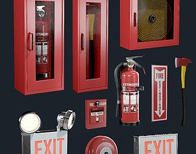3D model Fire Equipment Exit Sign Extinguisher Set Game