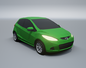 Mazda 2 lowpoly 3D model low-poly
