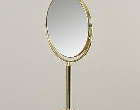 Polished Brass Adjustable Standing Makeup Mirror 3D model