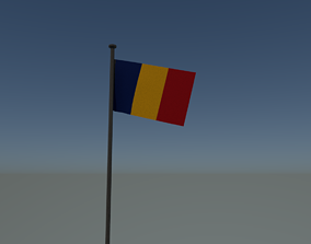 3D asset animated Romania flag