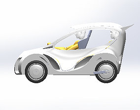 Universty electric car desing for efficiency racing 3D