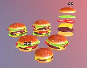 3D asset Lowpolyart burger cheeseburger constructor