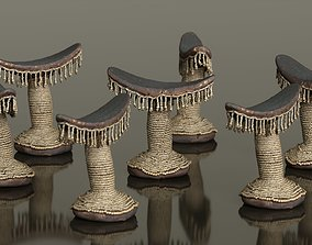 Headrest Africa Wood Furniture Prop 23 3D model low-poly