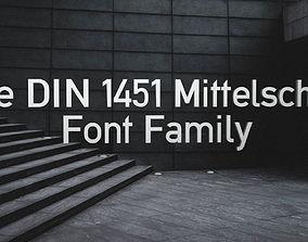Alte Din 1451 Mittelschrift Font Pack 3D model models