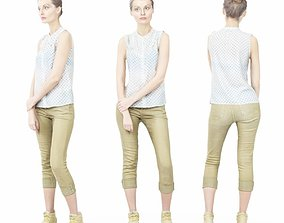 3D model Girl in White Top and Green Pants