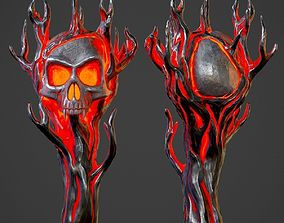 3D asset Hellish staff with a skull