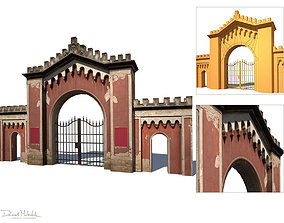Gate Wall Low Poly 3d Model VR / AR ready
