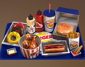 3D asset Low Polygon Art Fast Food Burger Big Pack