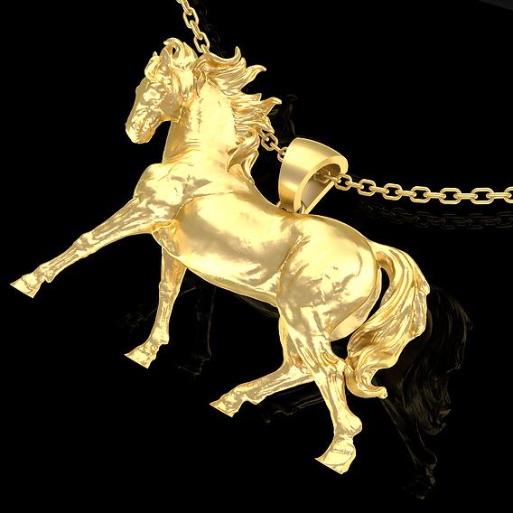 Running Horse Pendant Jewelry Gold 3D print model