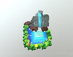 3D asset Waterfall and Nature Model