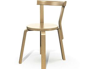 Wooden Chair With Backrest 3D