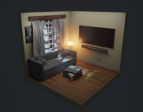 3D model interior living space with furniture