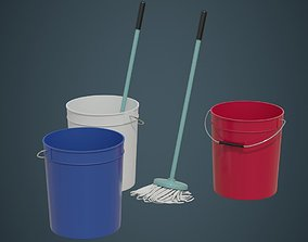 3D model Bucket And Mop 1A