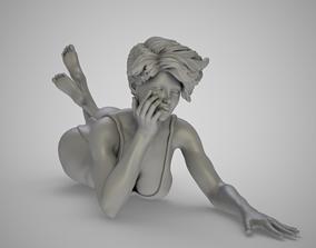 Girl Lies On The Sand girl 3D print model