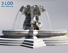 3D model low-poly Triton fountain