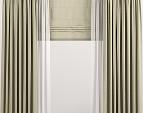Beige curtains with Roman and tulle 3D model