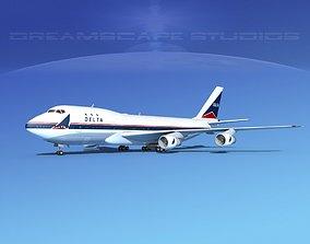 3D model Boeing 747-100 Delta Airlines