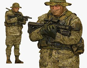 3D model soldier stying and holding rifle in chest 001152