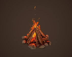 3D model animated Campfire