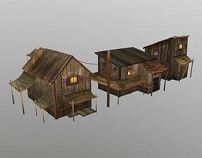 chalet wood house 3D model realtime
