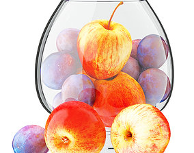 Apples and Plums in a Round Glass Vase 3D model
