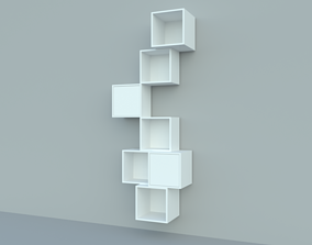 Wall-mounted cabinet combination shelves 3D