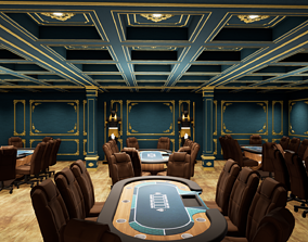 3D model game-ready POKER TABLE