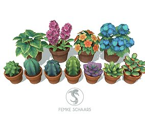 3D asset Low-Poly Stylized Flower Pot Plants Pack