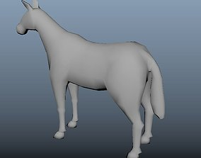 horse low poly 3D model game-ready