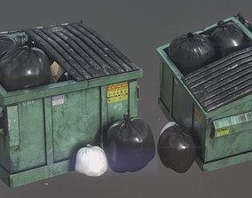 3D asset PBR Garbage Dumpster