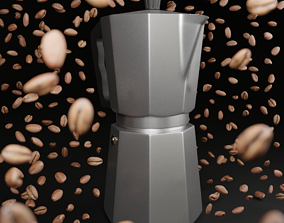 3D model low-poly Stove-top coffee maker