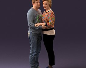 001016 man in gray top holding hands blonde woman 3D