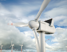 3D model Windmills on the water