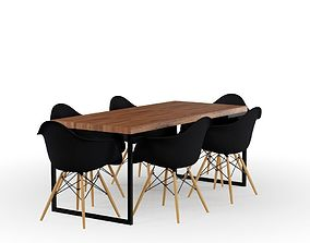 3D model Rustic Table and Black Eames Chair