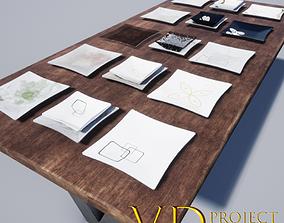 Square plates 3D asset