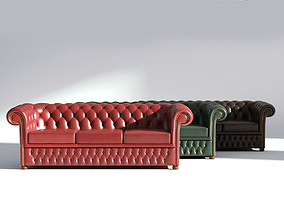 Chesterfield Sofa 3 - Green Brown Red 3D model